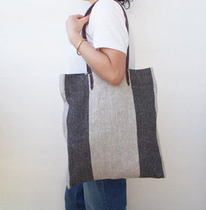 Linen Tote Bag - Black Big Stripe