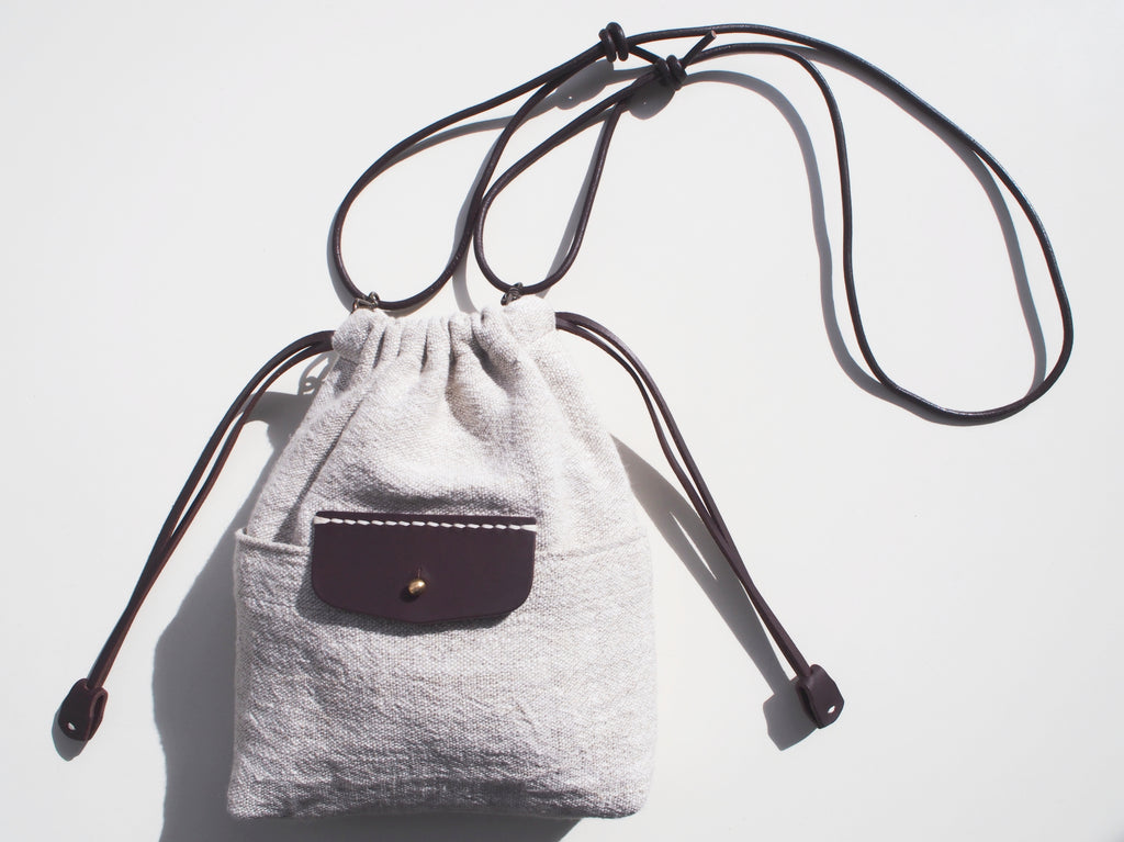 Linen Drawstring Bag / Chocolate