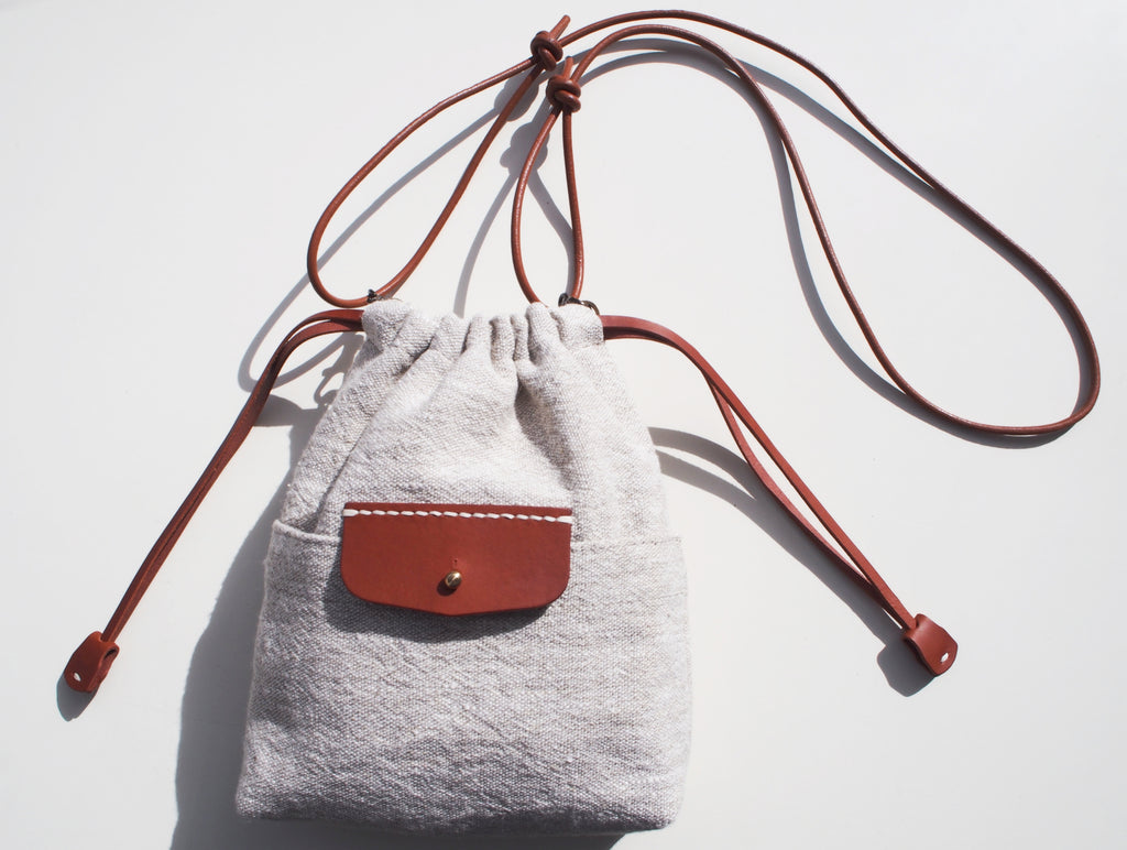 Linen Drawstring Bag / Whiskey