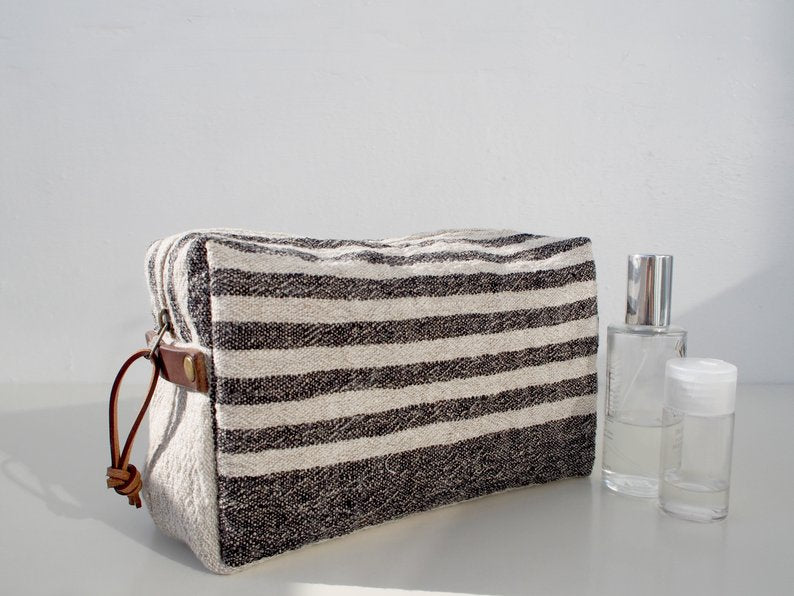 Linen Wash Bag (L) - Black Small Stripe
