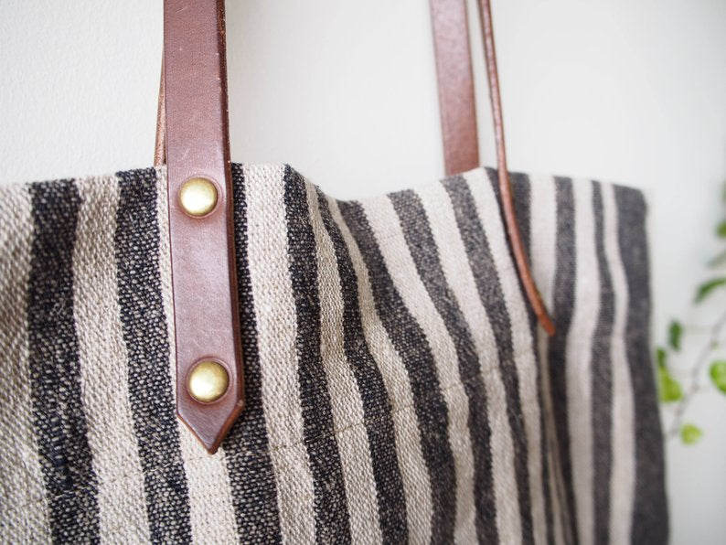 Linen Tote Bag - Black Small Stripe