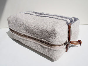 Linen Wash Bag (L) - Black Three Stripe