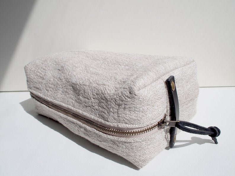 Linen Wash Bag (L) - Plain / Black Leather