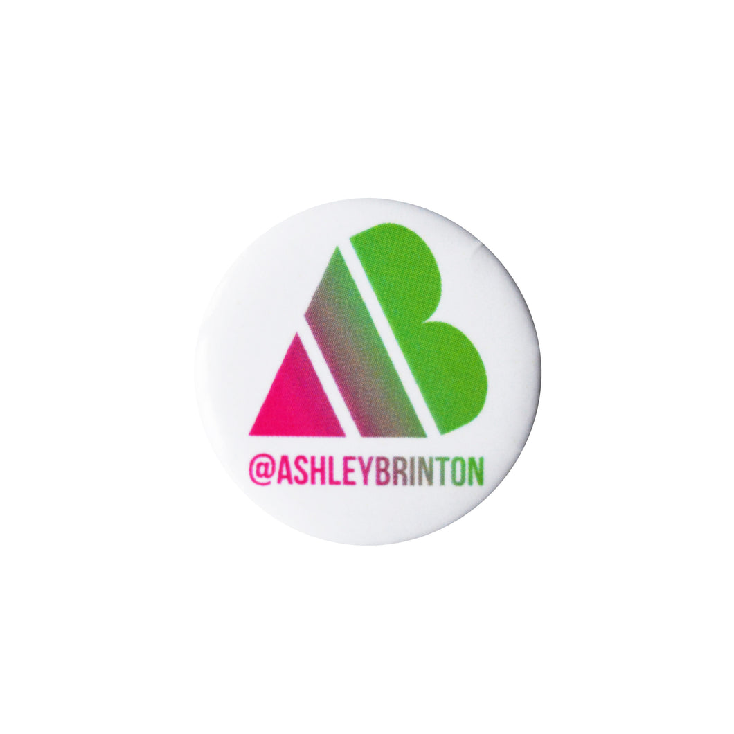 AB Heart Button - White/Pink/Green