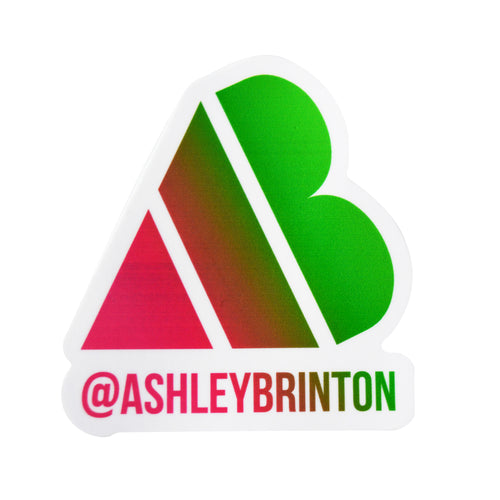 AB Heart Sticker - Pink/Green