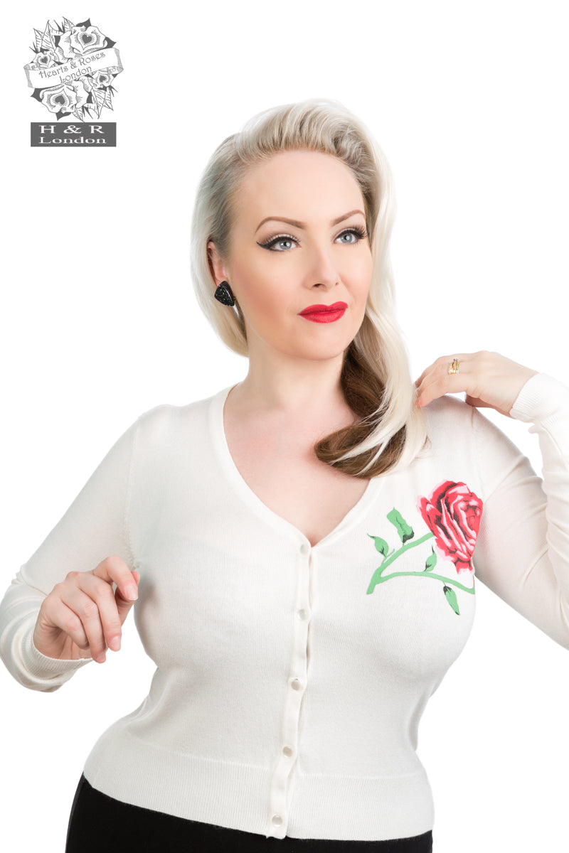 0101 R White Red Rose V Neck Cardigan