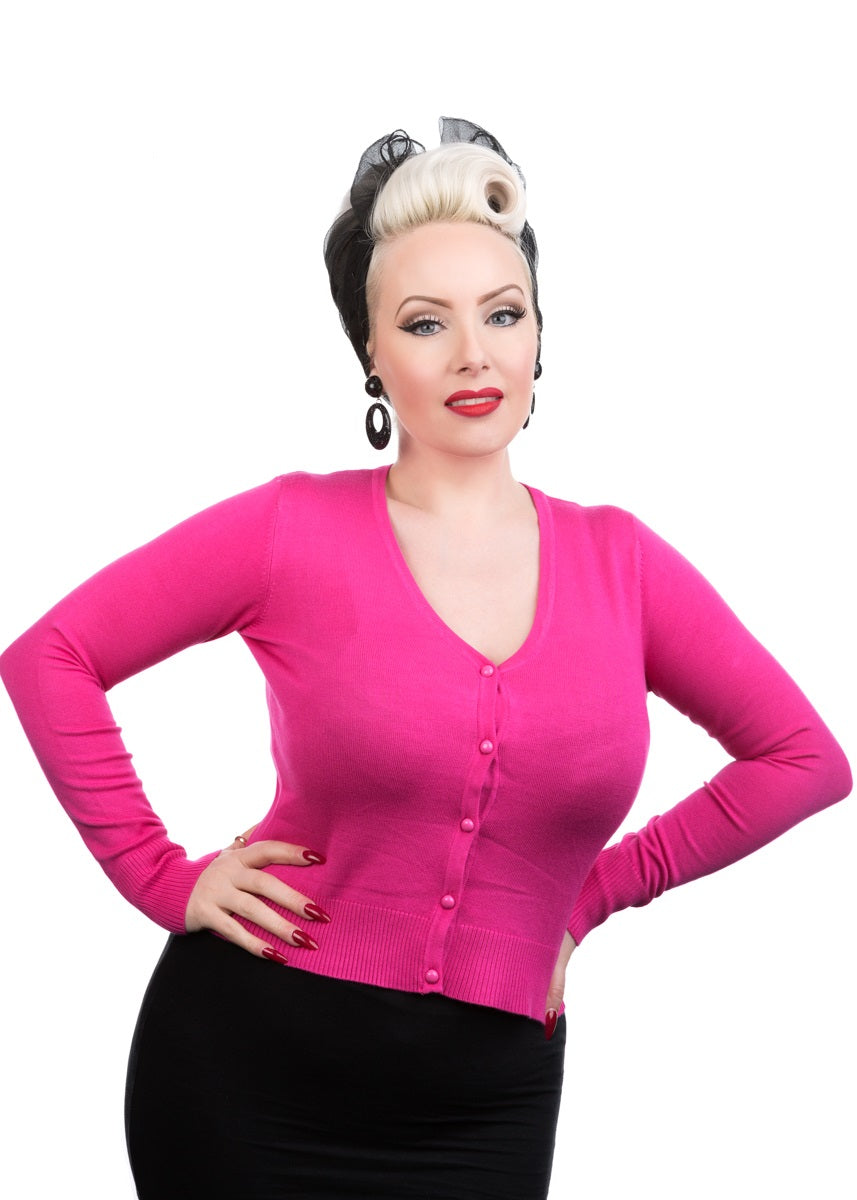 0101 Hot Pink V Neck Cardigan