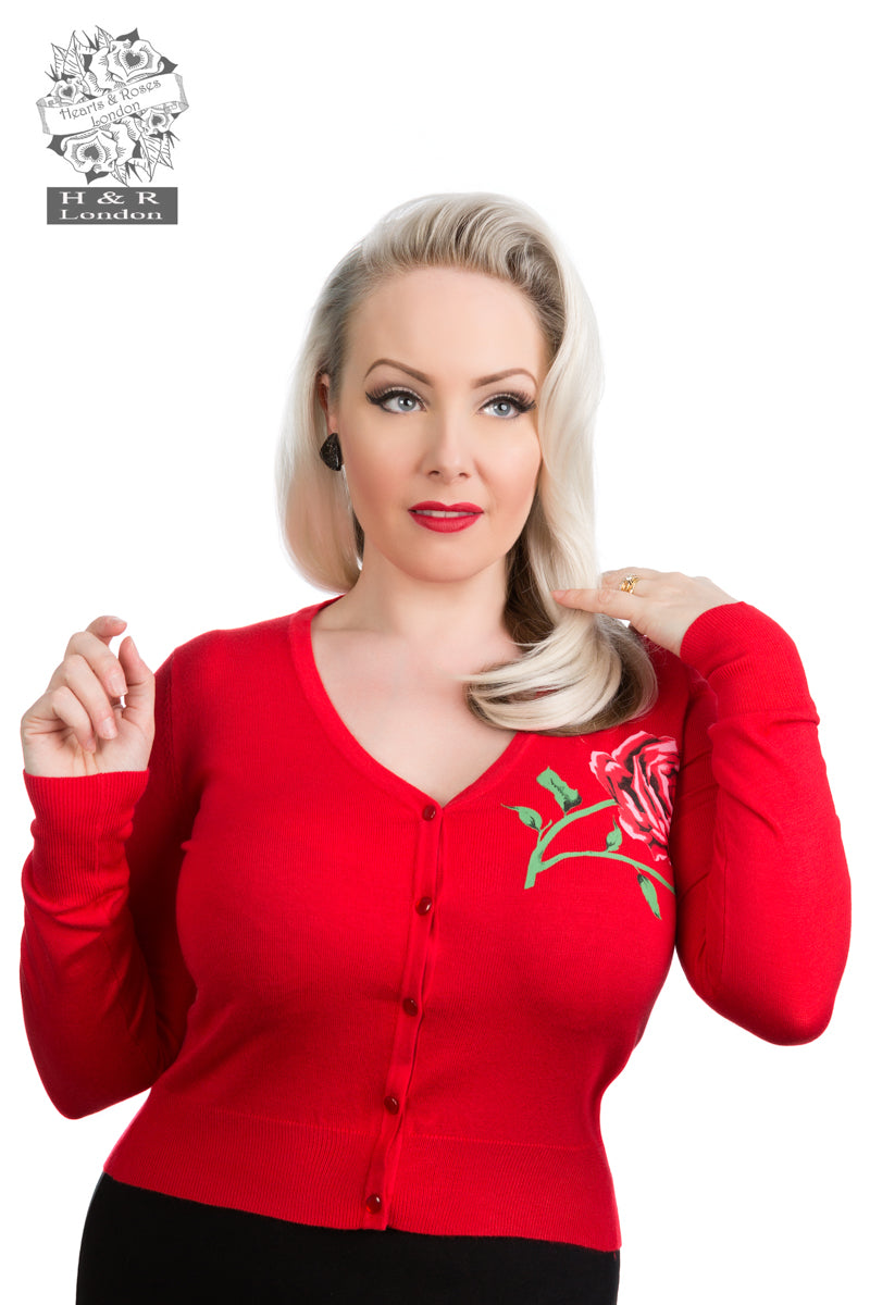 0101 R Red Rose V Neck Cardigan