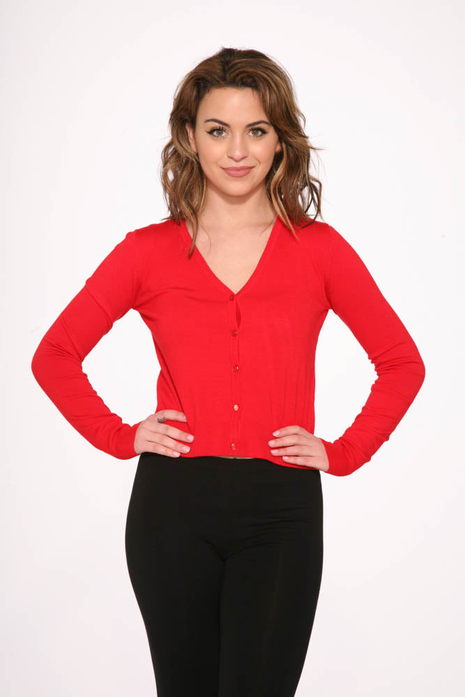 0101 Red V Neck Cardigan