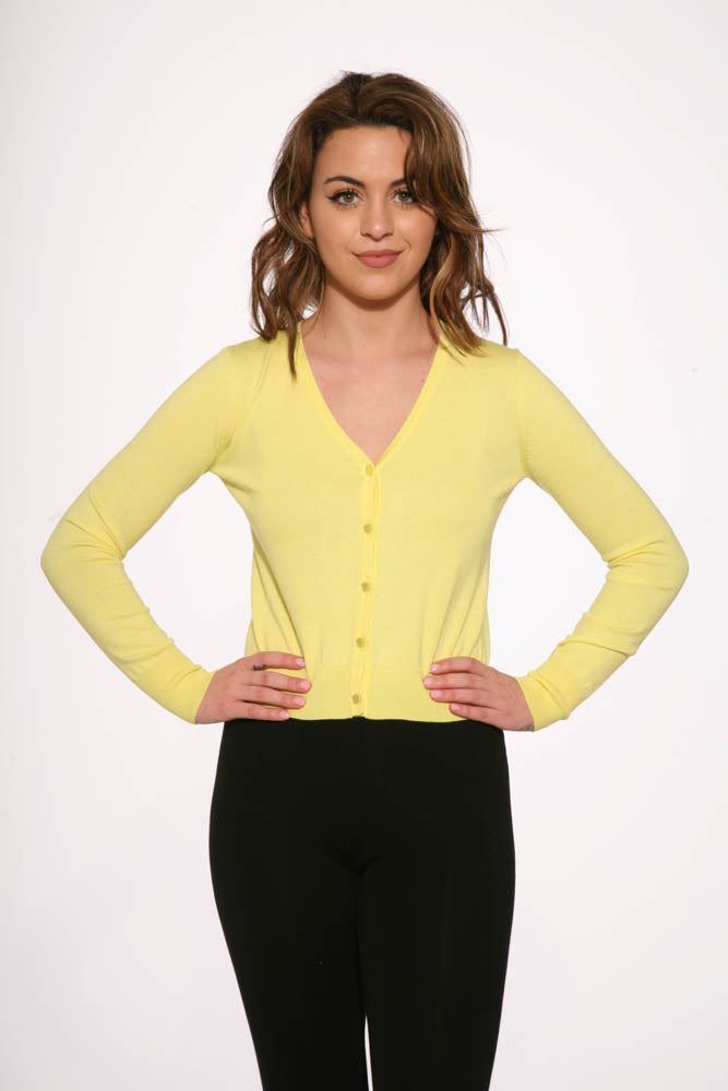 0101 Yellow V Neck Cardigan