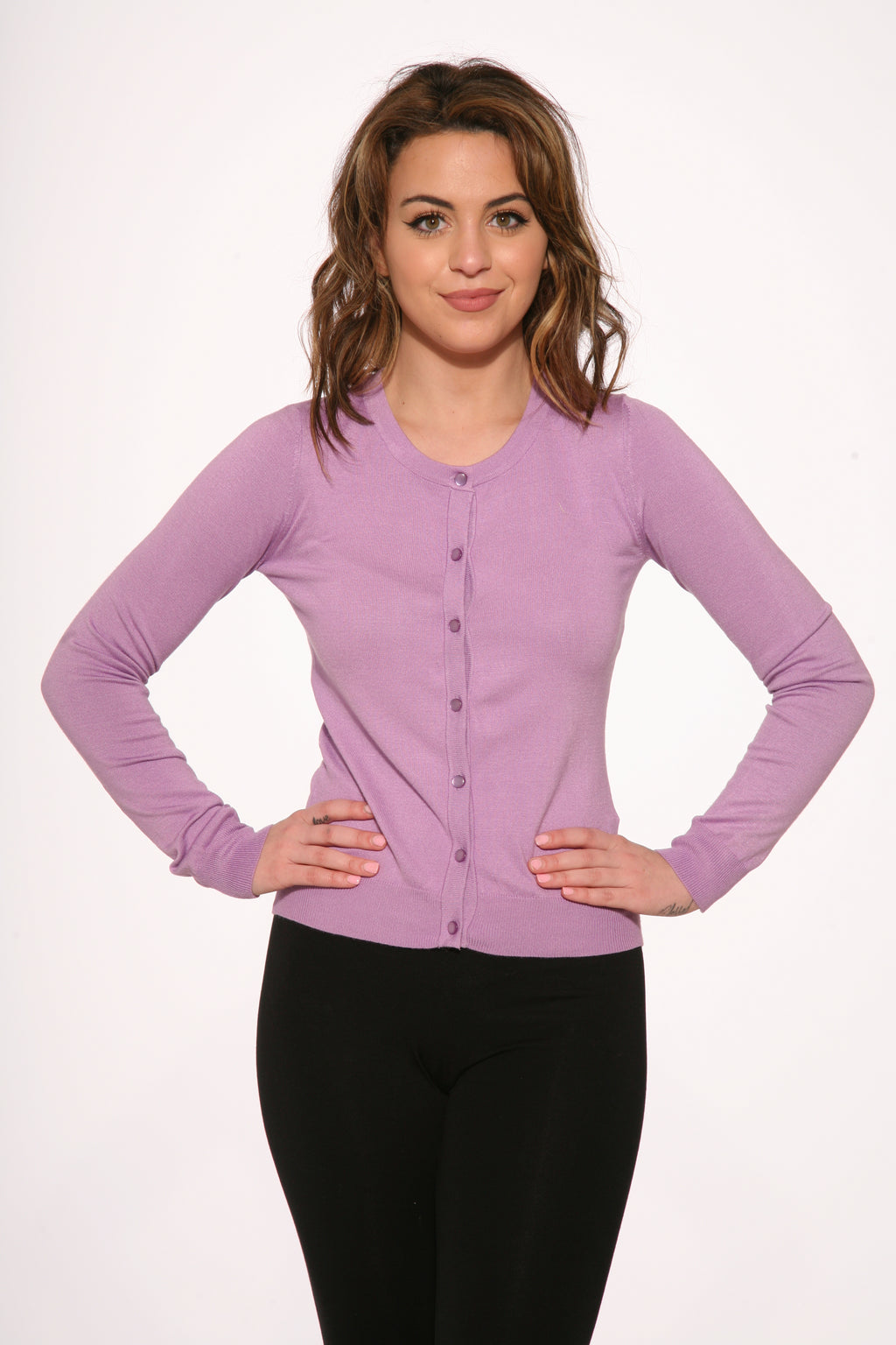 0202 Purple Crew-neck Cardigan