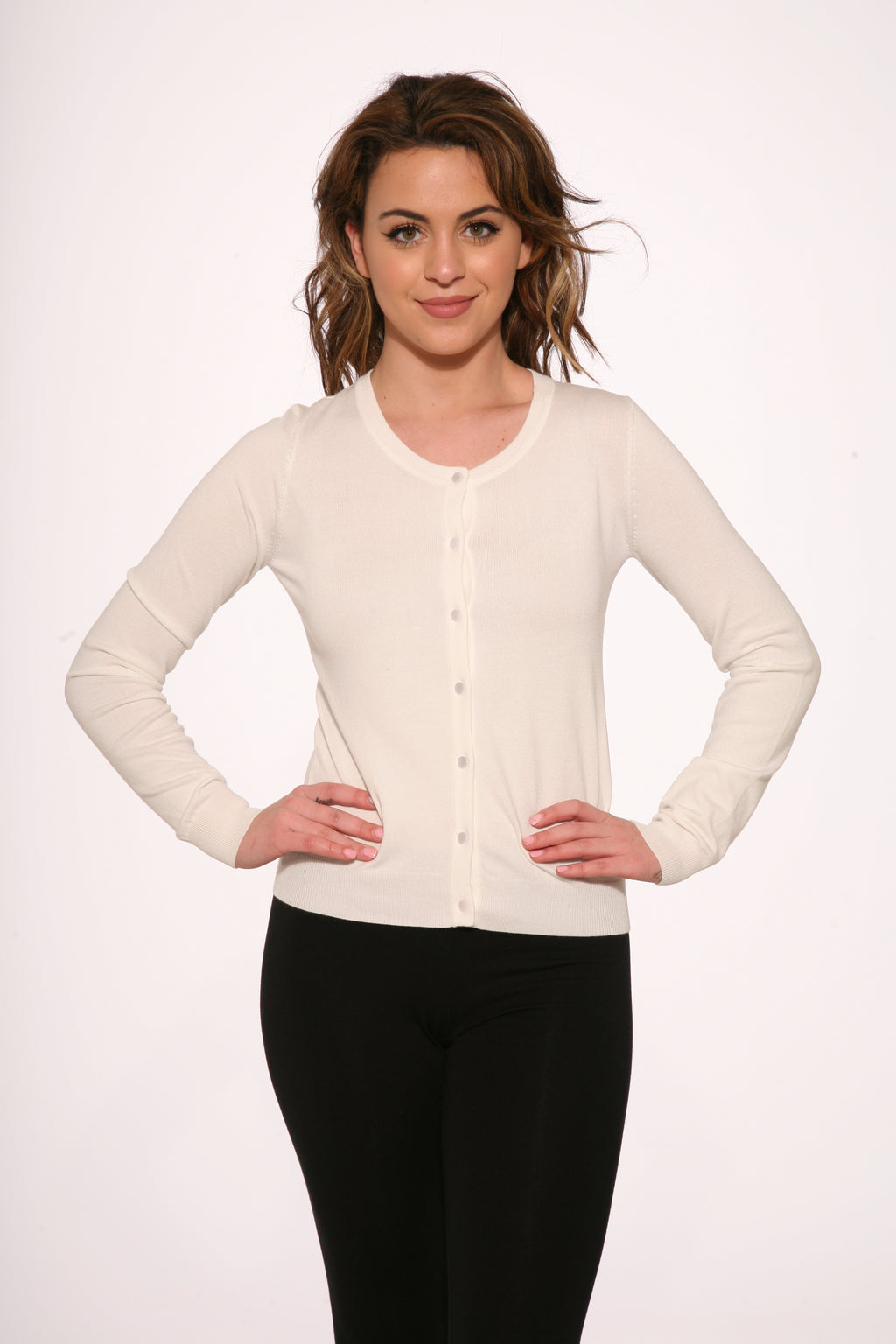 0202 White Crew-neck Cardigan