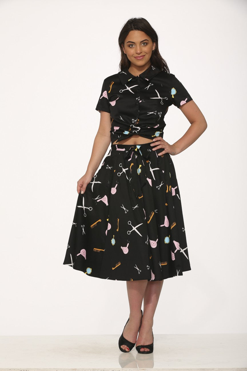 4153 Top & Skirt in Black Salon