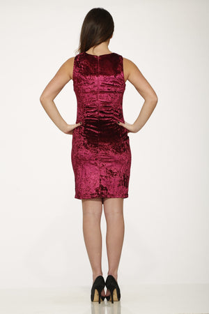L017990 Crushed Velvet Wine Dress ( Pre-Pack $ )
