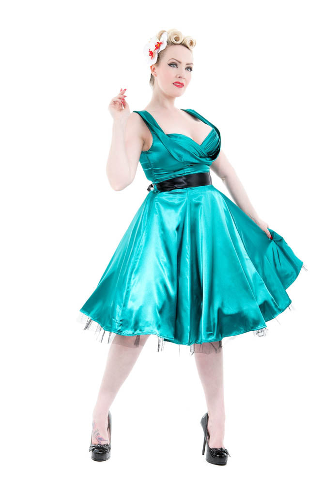6842 Occasion Swing Dress in Green
