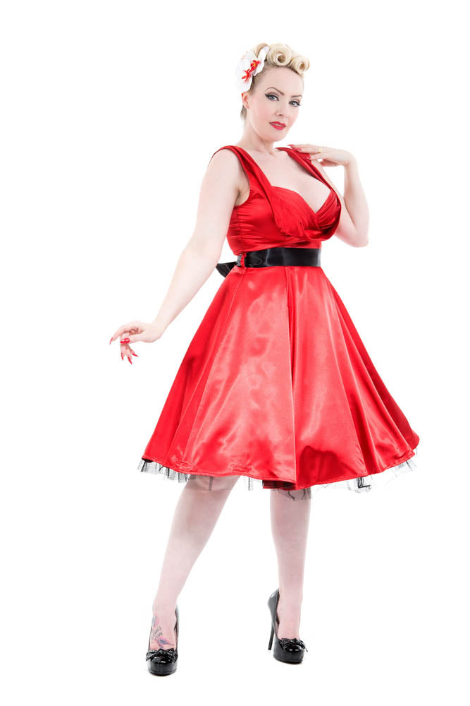 6842 Occasion Swing Dress in Red