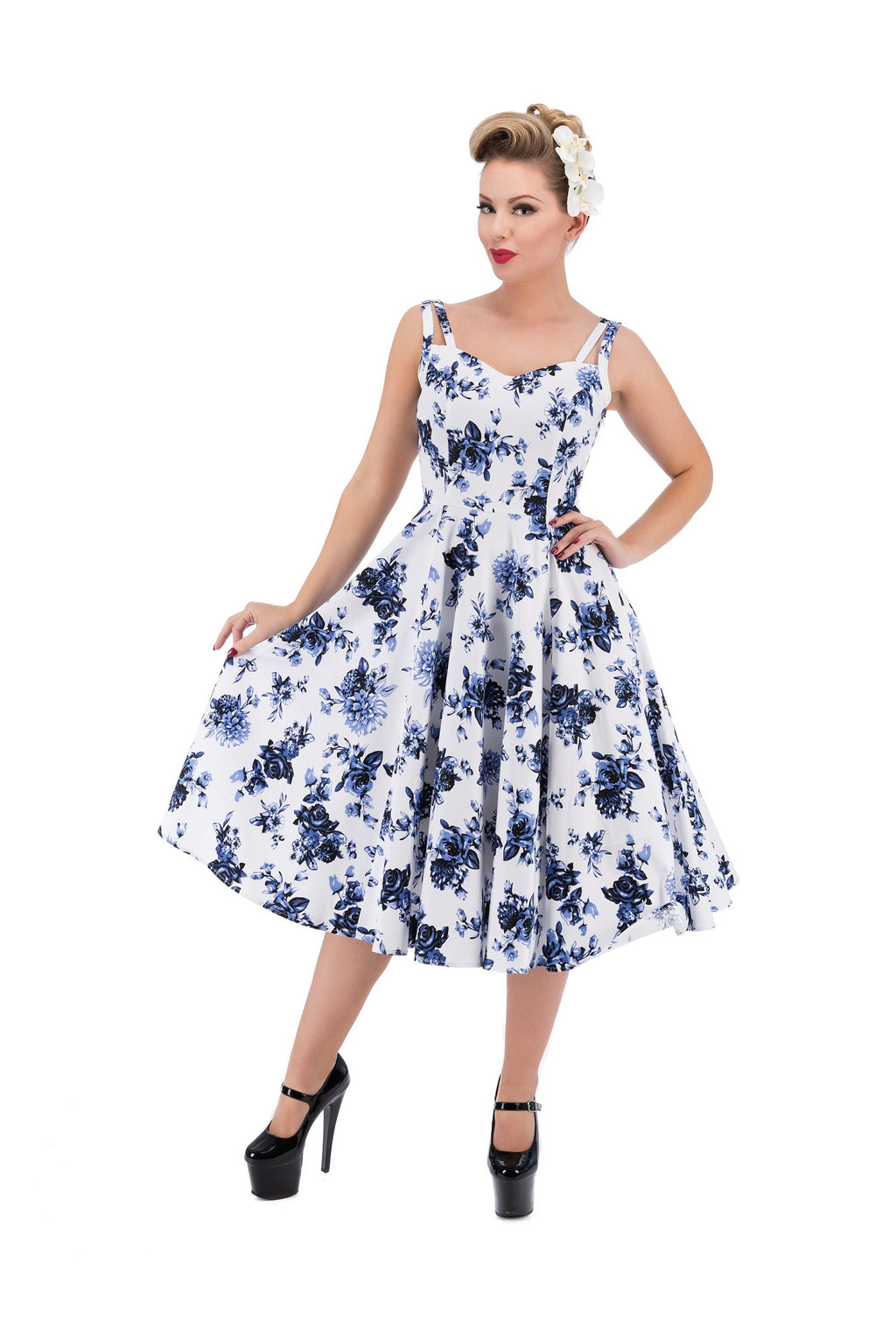 9975 China Doll Tea Dress in White Blue