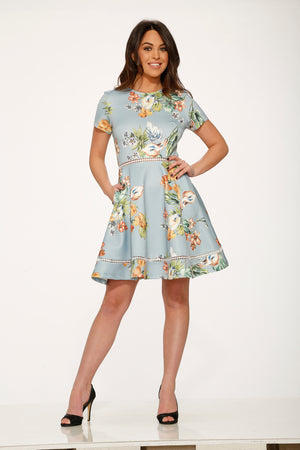 Y017984 Mint Floral Satin Dress ( Pre-Pack $ )