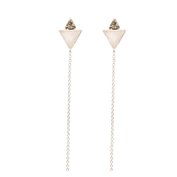 Double Pyramid & Chains Silver Earrings