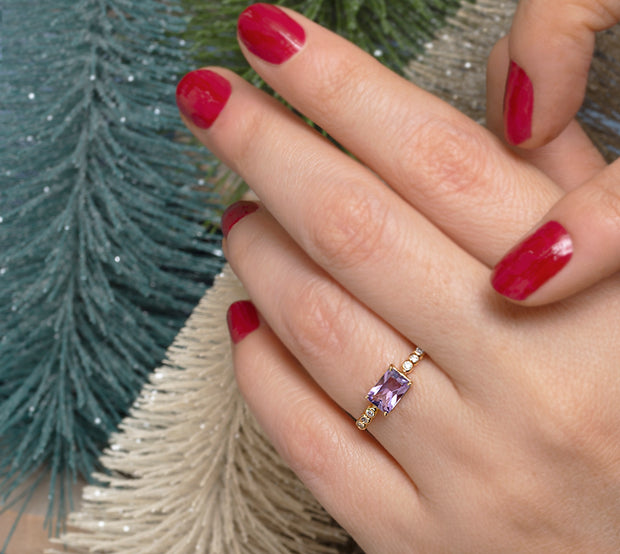 Amethyst Baguette Gold Ring