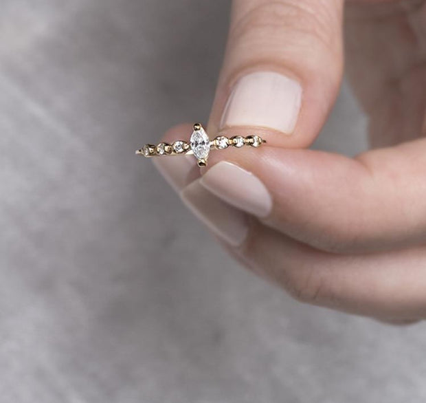 Diamond Marquise Gold Ring
