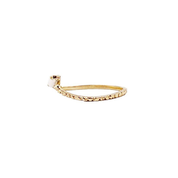 Wavy Hammered Band Gold Ring