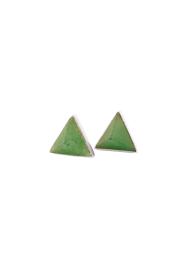 Pyramid Silver Stud Earrings