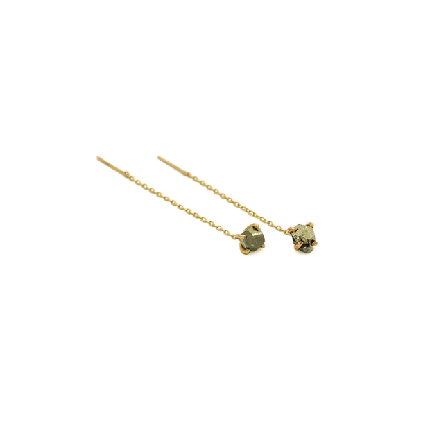 Pyrite Thread Through Gold Earrings