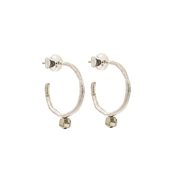 Pyrite Silver Earrings Stack
