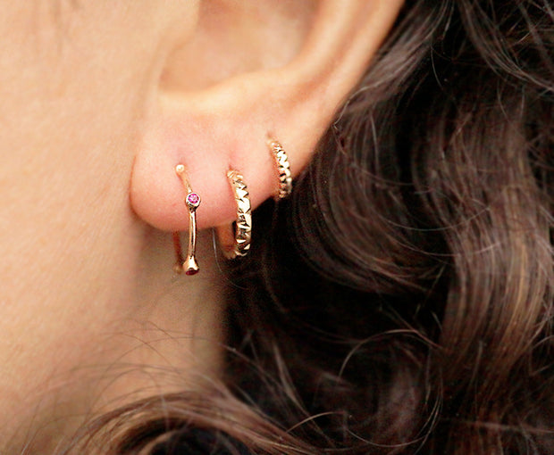 Triple Gold Hoops Stack