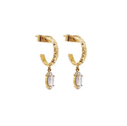 Hammered Gold Hoops with Stones