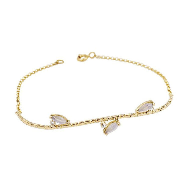 Diamonds & Chalcedony Gold Bracelet