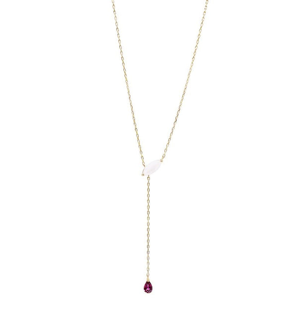 Pink Opal & Rubellite Gold Necklace