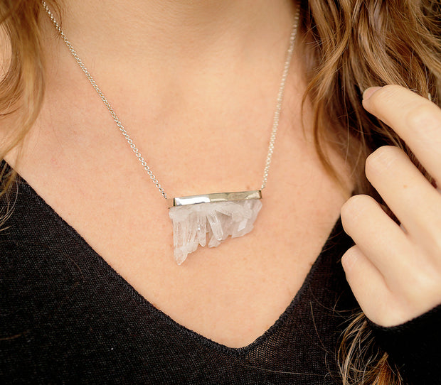 Raw Quartz Silver Necklace