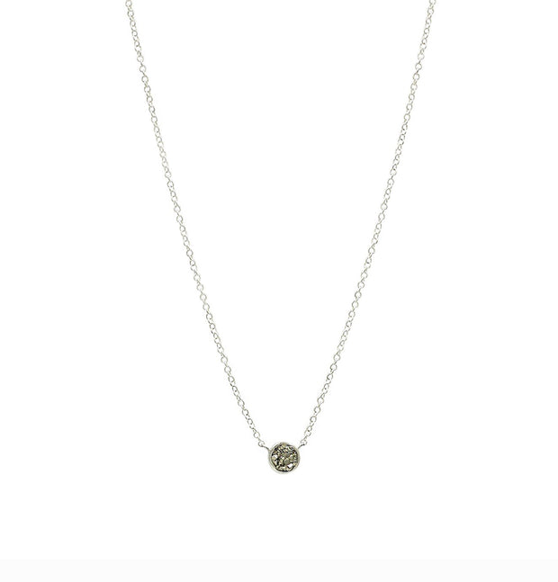 Round Stone Silver Necklace