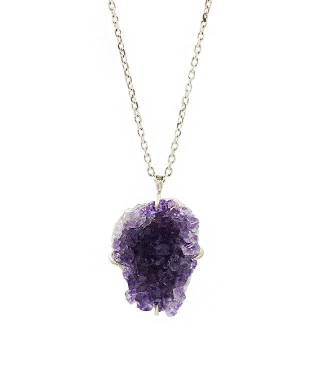 Amethyst Naturally Carved Silver Pendant