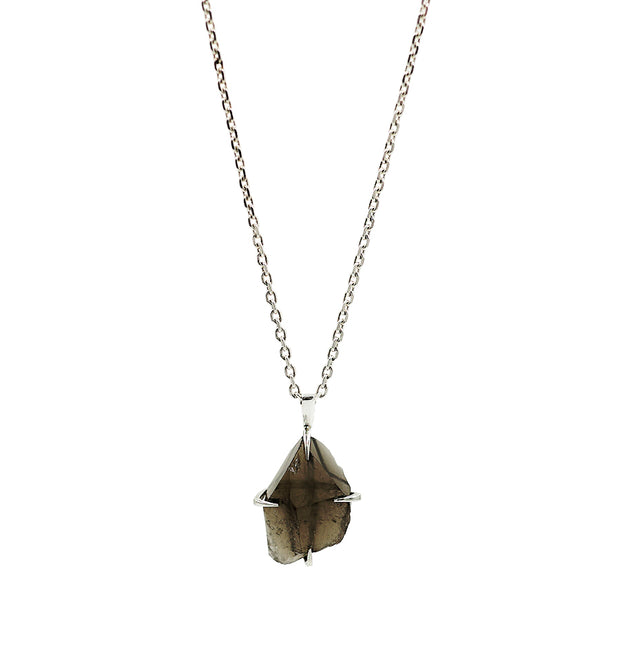 Naturally Carved Smoky Quartz Silver Pendant
