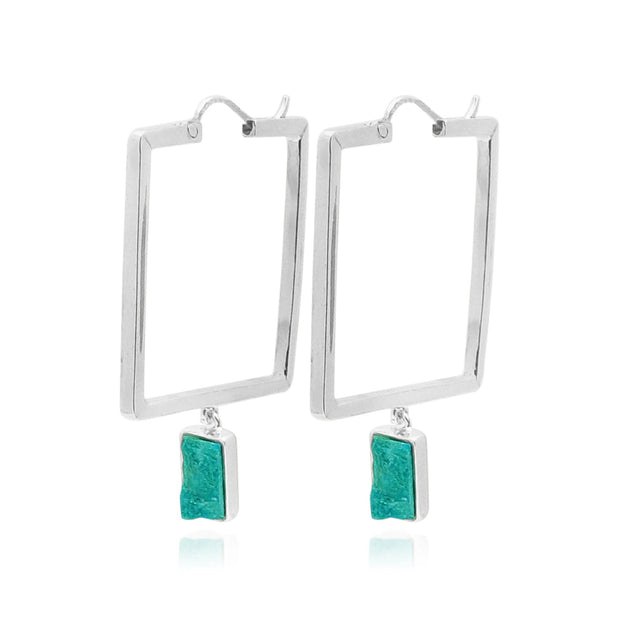 Silver Square Hoops with Opaline or Lapislazuli