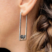 Rectangle Silver Hoops with Oxidized Granalla
