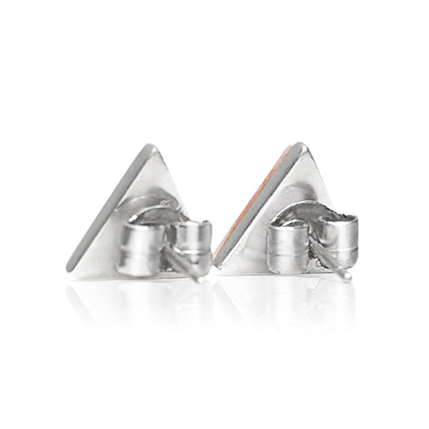 Petit Triangle Stud Silver Earrings