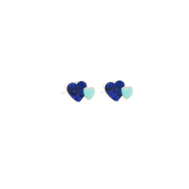 Double Heart Silver Earrings