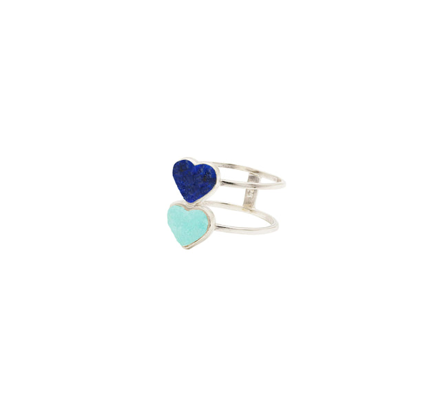 Double Heart Silver Ring