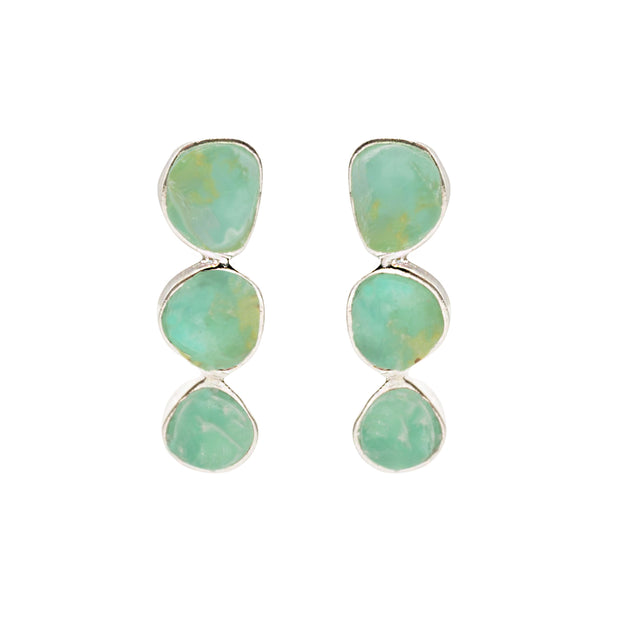 Drops Triple Andean Opal Silver Earrings