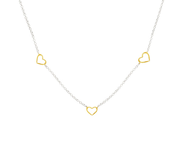 Gold Plated Heart Silver Necklace