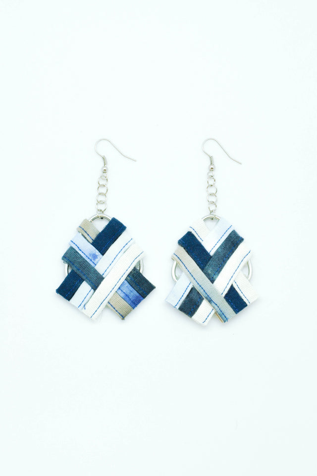 Cross Weaving Earrings in Blue - Imaji Studio
