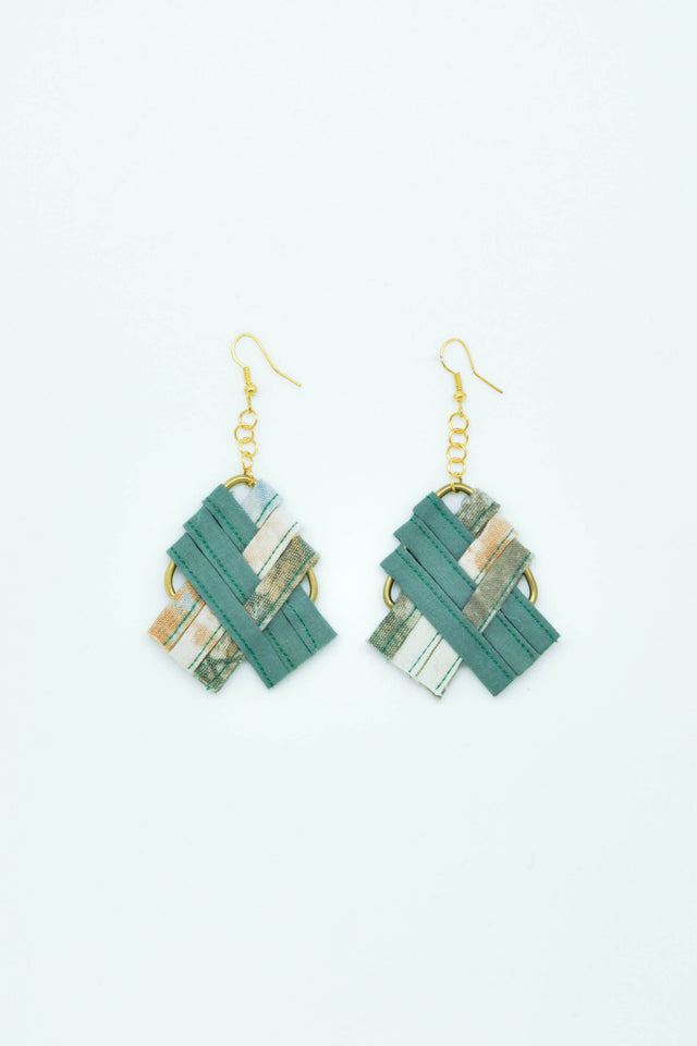 Cross Weaving Earrings in Green - Imaji Studio