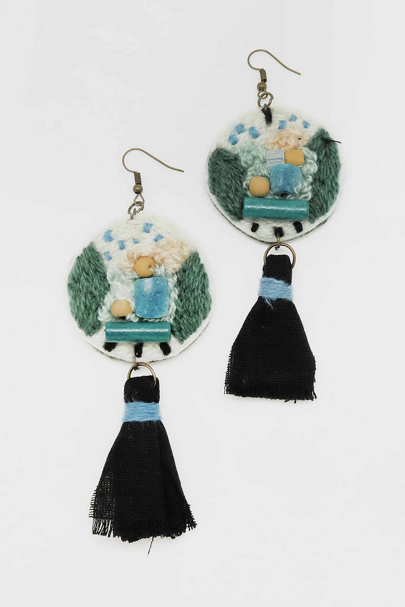 Round Totem in Green Earrings - Imaji Studio