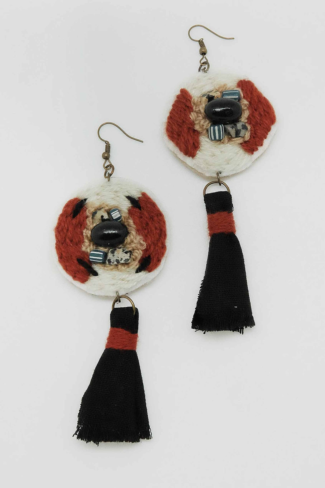 Round Totem in Red Earrings - Imaji Studio