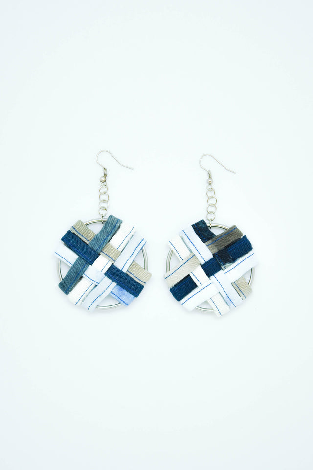 Round Weaving Earrings in Blue - Imaji Studio