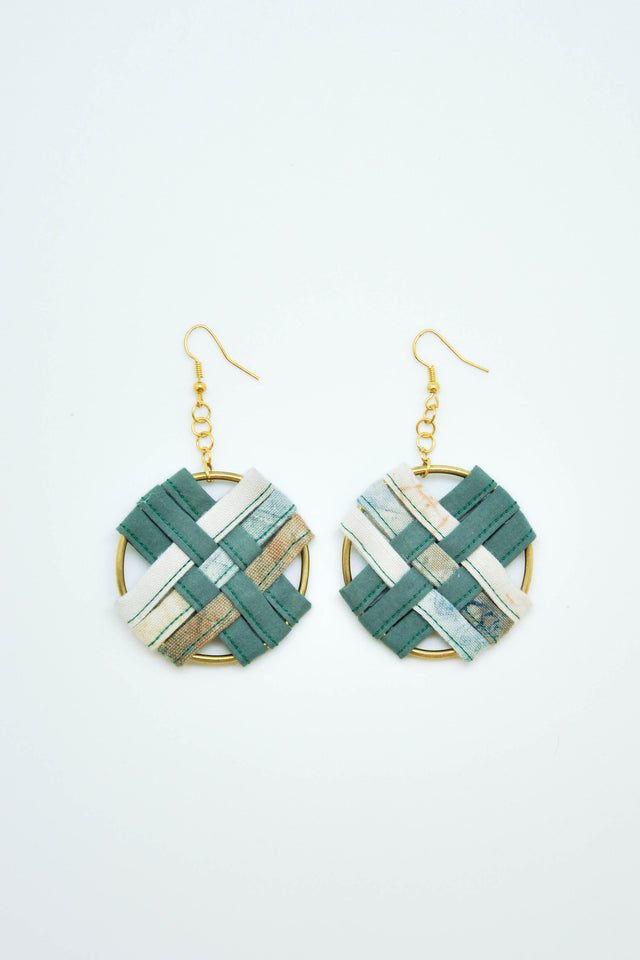 Round Weaving Earrings in Green - Imaji Studio